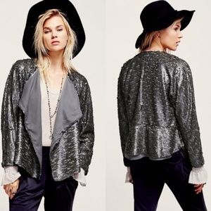 Free People NWT Drippy Sequined Moto Jacket